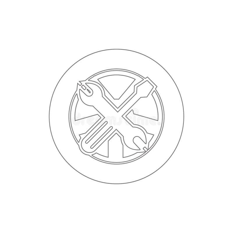 extra wiel en van het hulpmiddelenoverzicht pictogram Elementen van de illustratiepictogram van de autoreparatie De tekens en de  vector illustratie