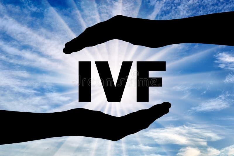 Extracorporal землеудобрение Слово IVF в руках стоковое изображение
