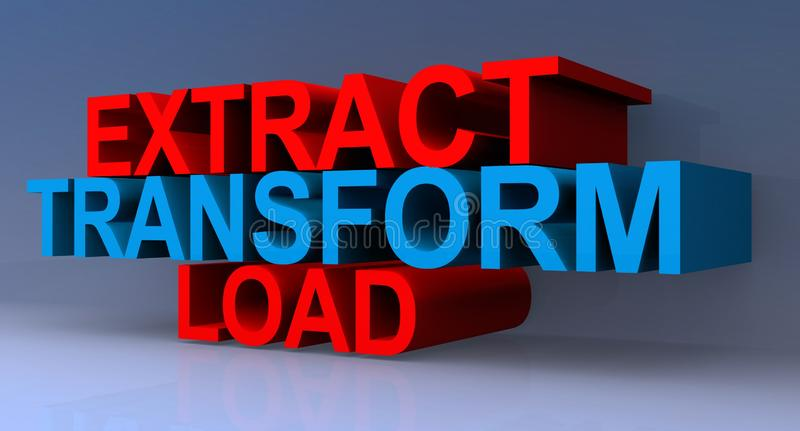 Extract Transform Load. An illustration of the words Extract Transform and Load royalty free illustration