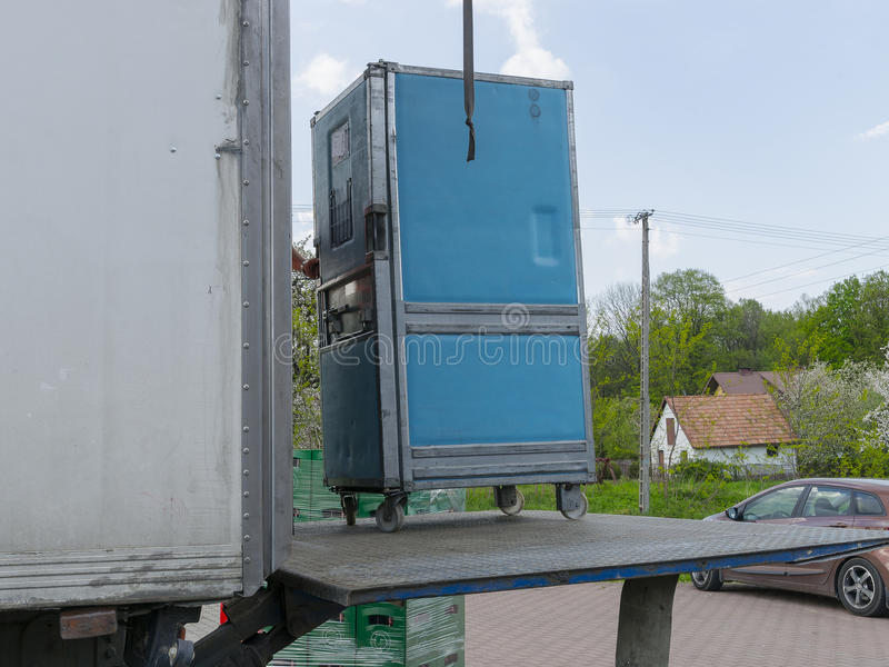 Extracting. Detail. Unpacking the car delivery. Poland royalty free stock photos