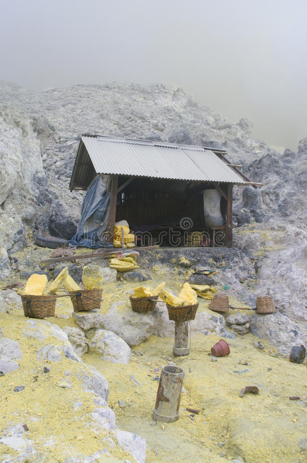 Extracting sulphur inside Kawah Ijen crater royalty free stock photography