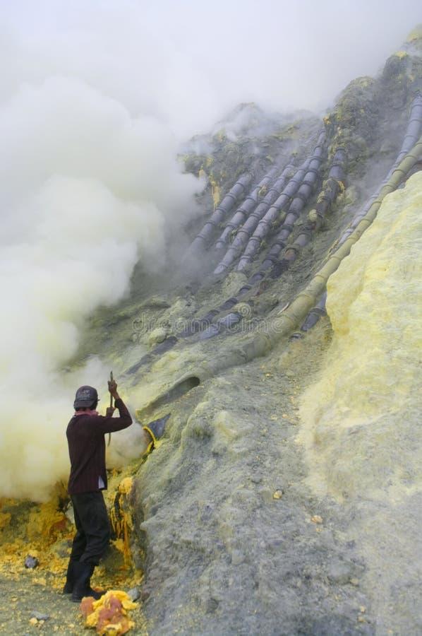 Extracting sulphur inside Kawah Ijen crater stock images