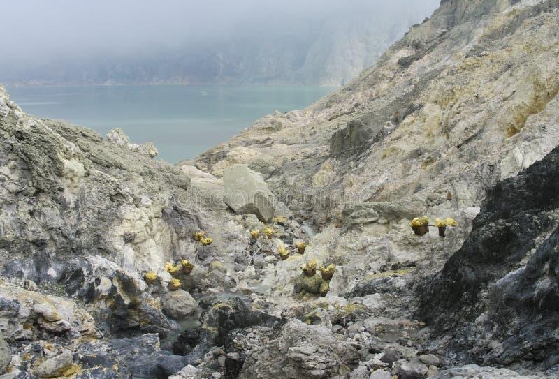 Extracting sulphur inside Kawah Ijen crater royalty free stock photo