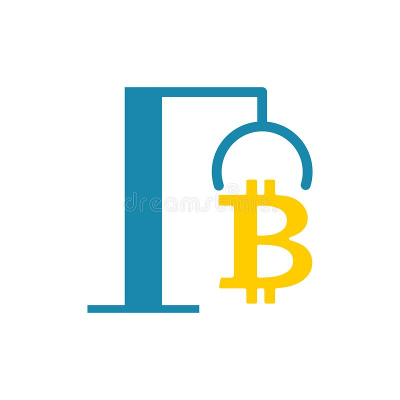 Extraction Bitcoin icon. recovery of Cryptocurrency. vector illustration. stock illustration