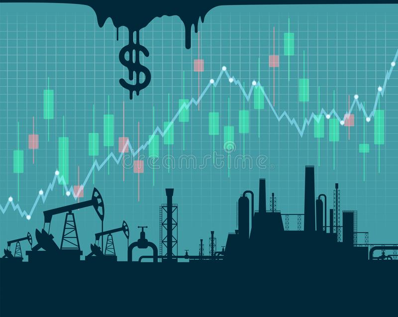 Extraction of crude oil. Financial graphs and charts. Stock vector illustration stock illustration