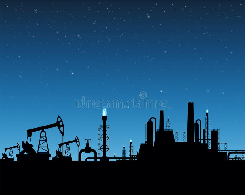 Extraction of gas and oil. Industrial plant on sunset background. Stock vector illustration stock illustration