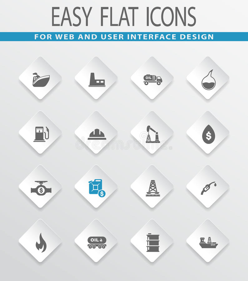 Extraction of oil icons set. Extraction of oil easy flat web icons for user interface design royalty free illustration