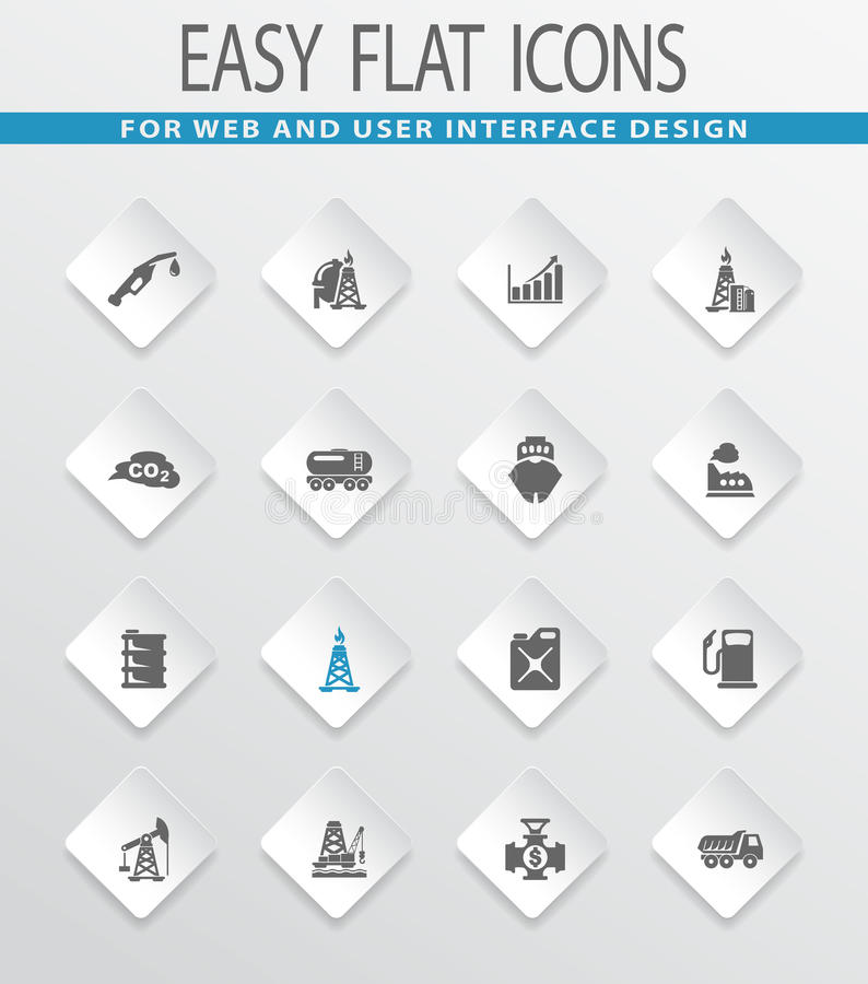 Extraction of oil icons set. Extraction of oil easy flat web icons for user interface design stock illustration