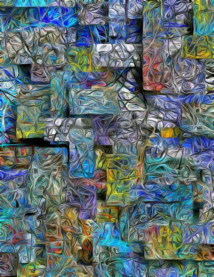 Extracto acodado dimensional de colores stock de ilustración