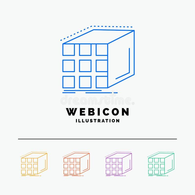 Extracto, agregación, cubo, dimensional, línea de color de la matriz 5 plantilla del icono de la web aislada en blanco Ilustraci? libre illustration