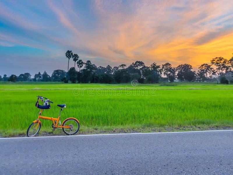 Extracto, agricultura, corriente alternada, aureola, fondo, hermoso, bicicleta, bici, azul, coche, catapulta, cereales, nube, coc fotografía de archivo libre de regalías