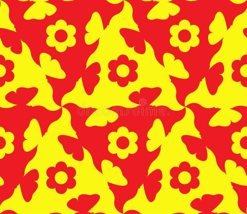 Extracto, amarillo del estampado de flores y rojo inconsútiles El modelo es inconsútil de las formas de repetición de diversos co libre illustration