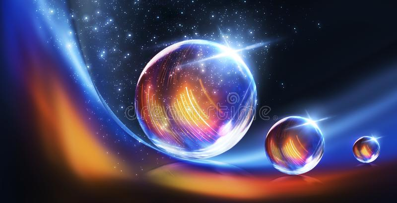 Extracto, arte, astronom?a, fondo, bola, negro, azul, brillante, ciudad, color, colorido, colores, cosmos, cristalino, oscuro, di foto de archivo libre de regalías