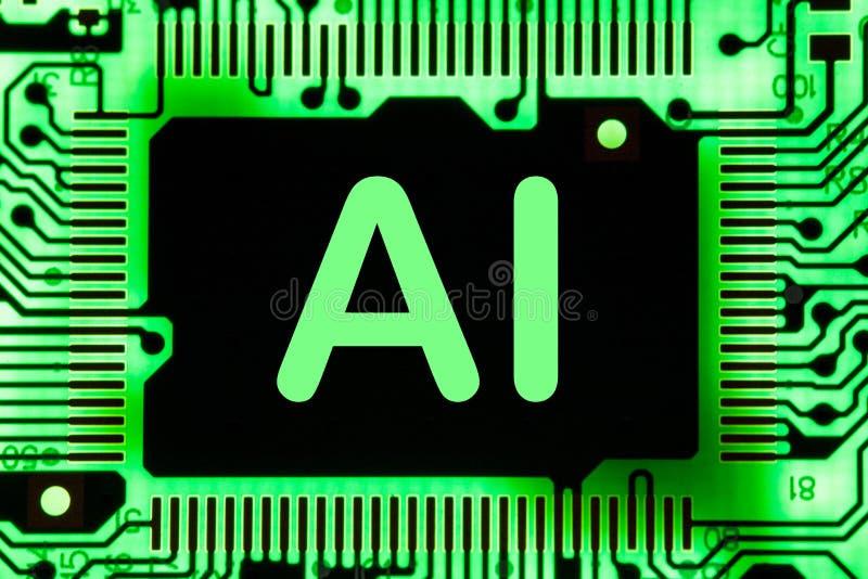 Extracto, cierre para arriba del fondo del ordenador electrónico de Mainboard inteligencia artificial, ai fotografía de archivo libre de regalías