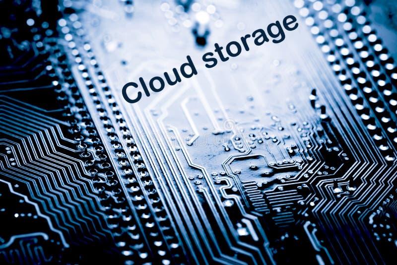 Extracto, cierre para arriba del fondo del ordenador electrónico de Mainboard nube del almacenamiento de la nube, almacenamiento imagenes de archivo