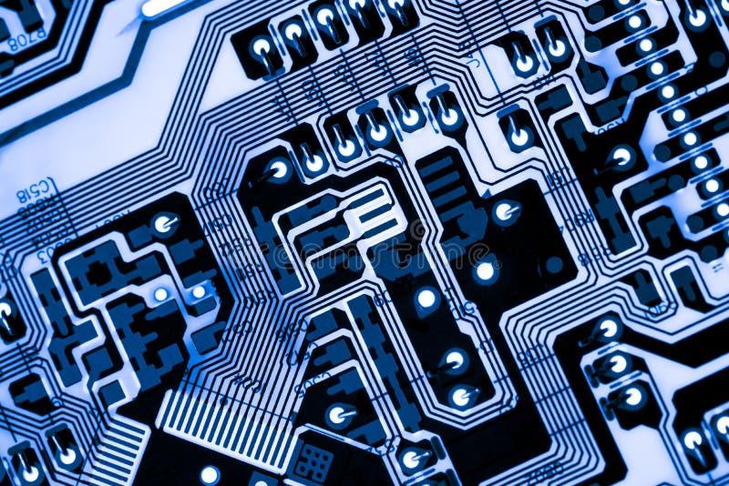 Extracto, cierre para arriba del fondo del ordenador electrónico de Mainboard tablero de lógica, placa madre de la CPU, consejo p foto de archivo libre de regalías