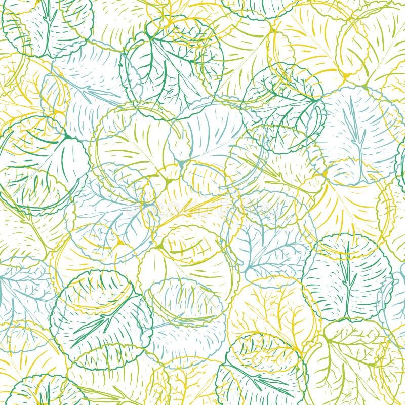 Extracto colorido waterlily o modelo inconsútil del vector de las hojas de la flor de loto en una línea estilo exhausto de la man ilustración del vector
