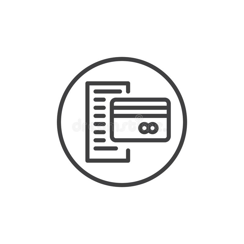 Extracto de cuenta con la línea icono de la tarjeta de crédito stock de ilustración