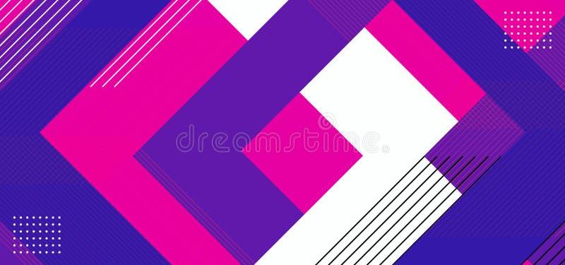 Extracto de fondo geométrico con diseño de composición triangular. Ilustración vectorial de color púrpura, rosa, azul y blanc ilustración del vector