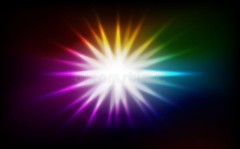 Extracto de la explosión de la estrella del espectro, ejemplo del vector del fondo del concepto del arco iris del efecto de los r stock de ilustración
