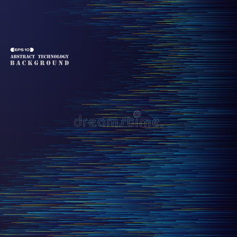 Extracto de la línea futurista ensenada de la raya azul de la pendiente de la tecnología stock de ilustración