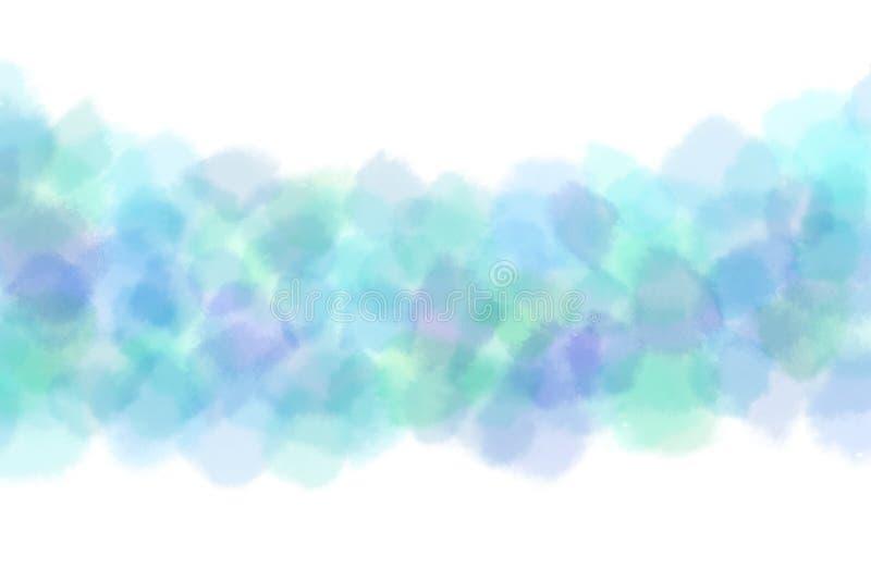 Extracto de la lluvia del agua azul del verano o fondo de la pintura de la acuarela stock de ilustración