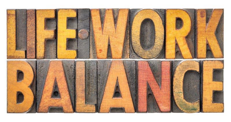Extracto de la palabra de la balanza del trabajo de vida en tipo de madera de la prensa de copiar del vintage imágenes de archivo libres de regalías