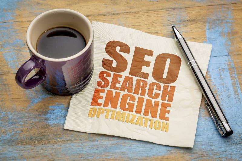 Extracto de la palabra de la optimización del Search Engine de SEO foto de archivo libre de regalías