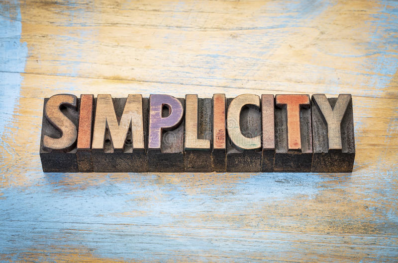 Extracto de la palabra de la simplicidad foto de archivo