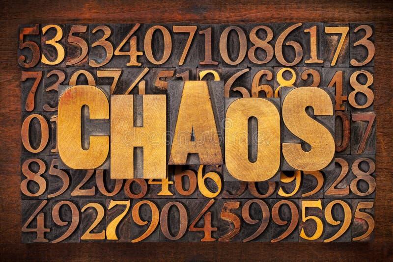 Extracto de la palabra del caos y de los números imágenes de archivo libres de regalías