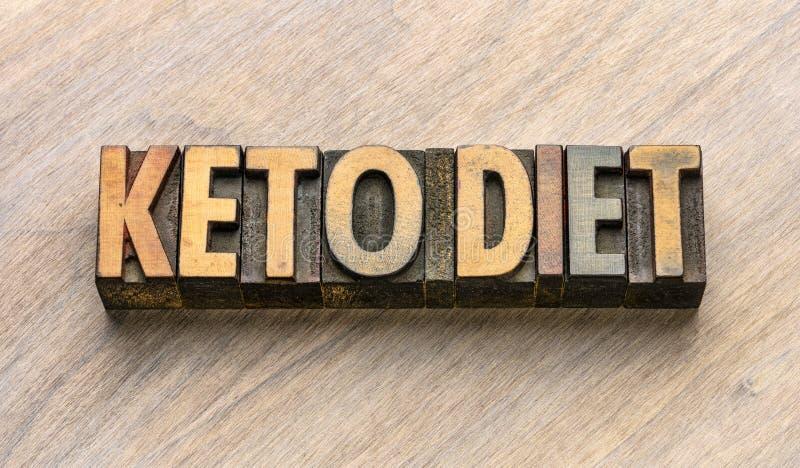 Extracto de la palabra de la dieta del Keto en el tipo de madera fotografía de archivo