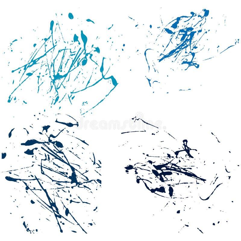 Extracto de la pintura de la salpicadura del vector en drenaje determinado de la mano del fondo blanco ilustración del vector