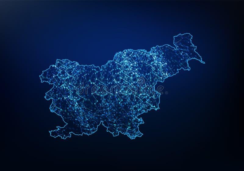 Extracto de la red del mapa de Eslovenia, de Internet y del concepto global de la conexi?n, l?nea poligonal de la red de la malla stock de ilustración