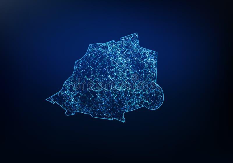Extracto de la red del mapa de vatican, de Internet y del concepto global de la conexi?n, l?nea poligonal de la red de la malla d libre illustration