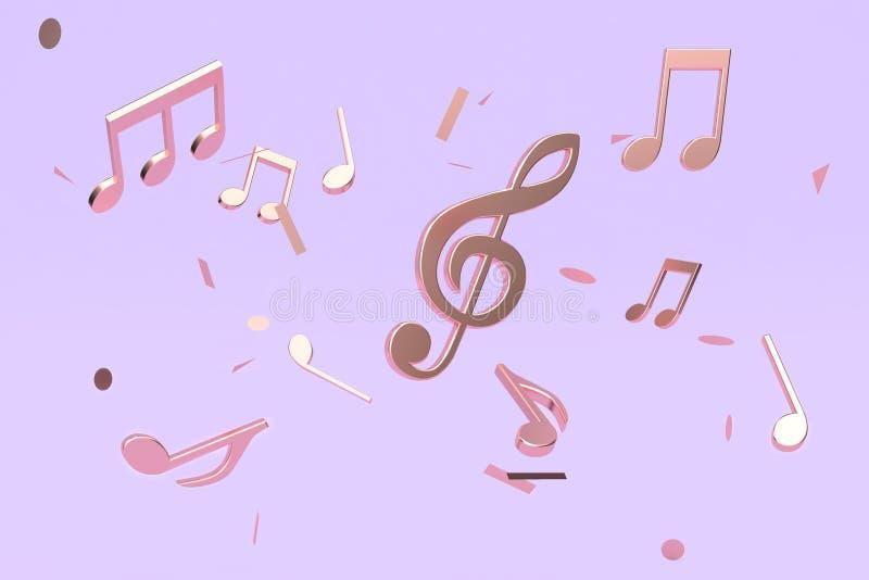 extracto de la representación 3d mucho música de cobre metálica de la nota dominante que flota el fondo violeta-púrpura ilustración del vector