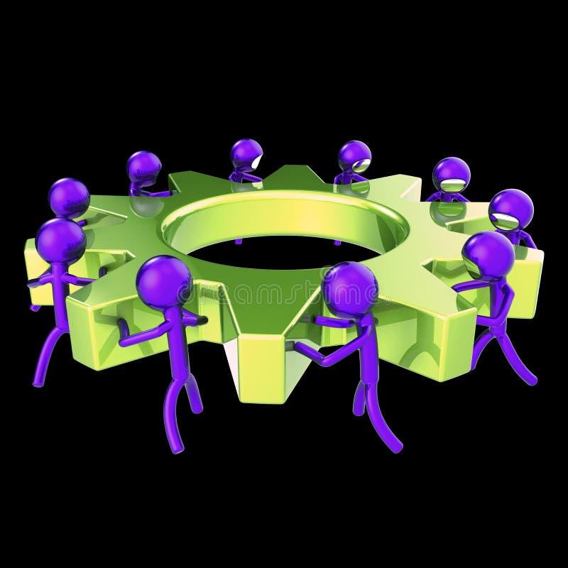 Extracto de la rueda dentada de los caracteres del proceso de negocio de la rueda dentada del trabajo en equipo ilustración del vector