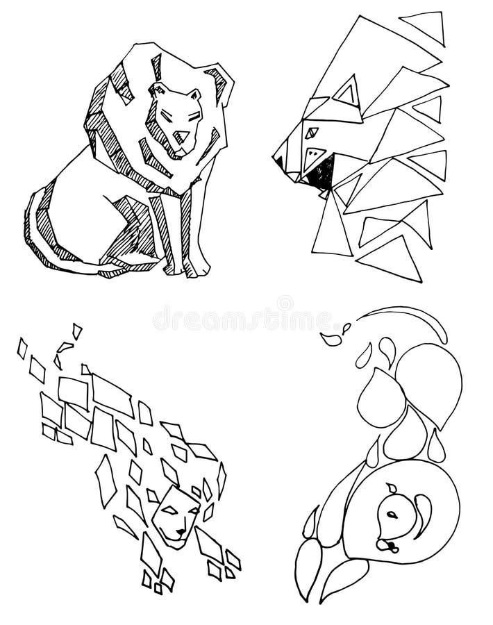 Extracto de la silueta del icono del león en fondos blancos, libre illustration