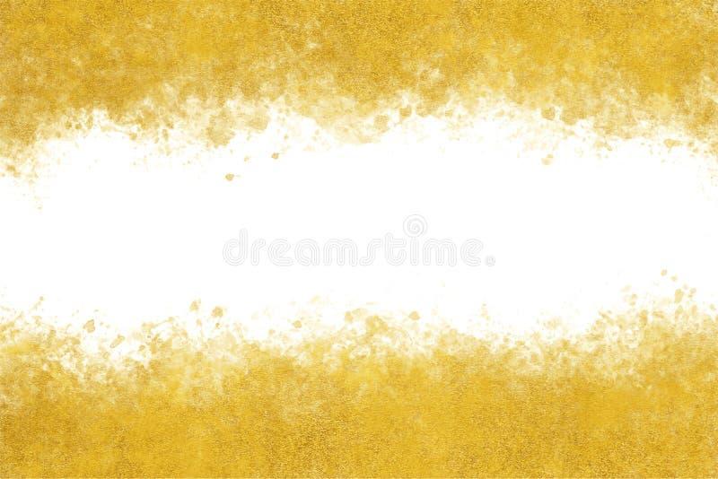 Extracto del chapoteo de la acuarela de la tinta del oro del Año Nuevo o fondo japonés de la pintura de la mano del vintage, ejem stock de ilustración