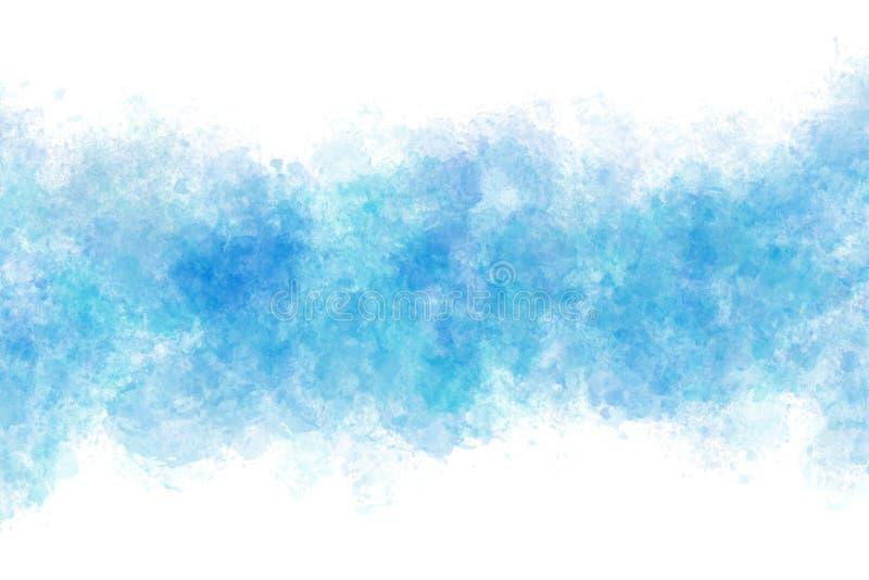 Extracto del chapoteo de la onda de agua del color del verano o fondo azul de la pintura de la acuarela stock de ilustración