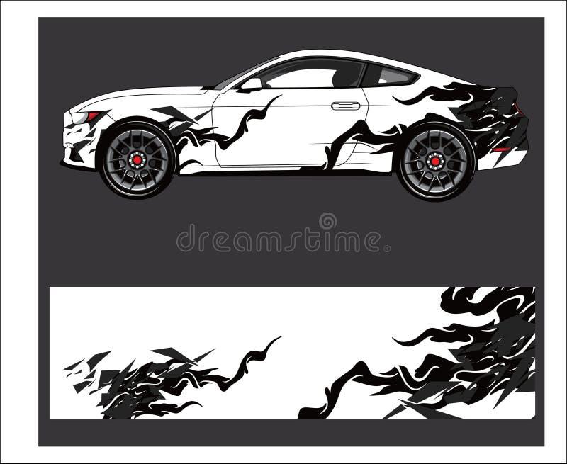 Extracto del coche y del vehículo que compite con el fondo gráfico del equipo para la etiqueta engomada del abrigo y del vinilo libre illustration
