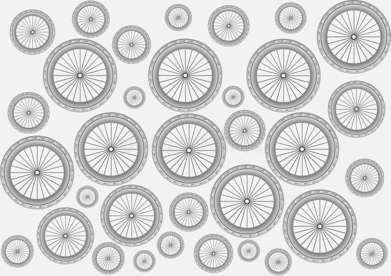 Extracto del fondo de la rueda blanco y negro stock de ilustración