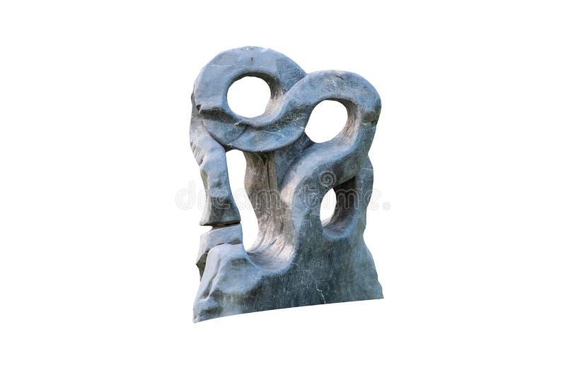 Extracto del granito grande, piedra de mármol de la roca con los agujeros en el estilo de Japón del zen del jardín La roca dec fotos de archivo