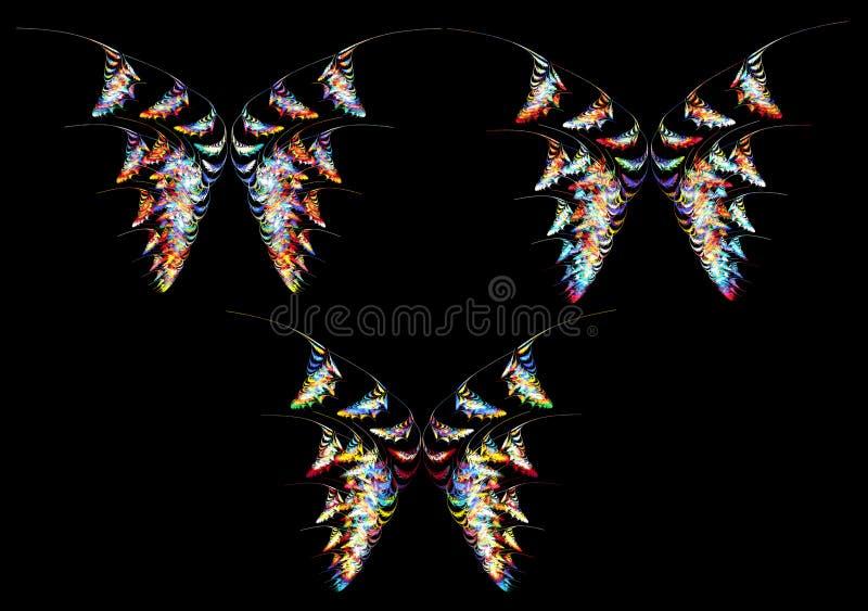Extracto del neón del fractal de la mariposa ilustración del vector