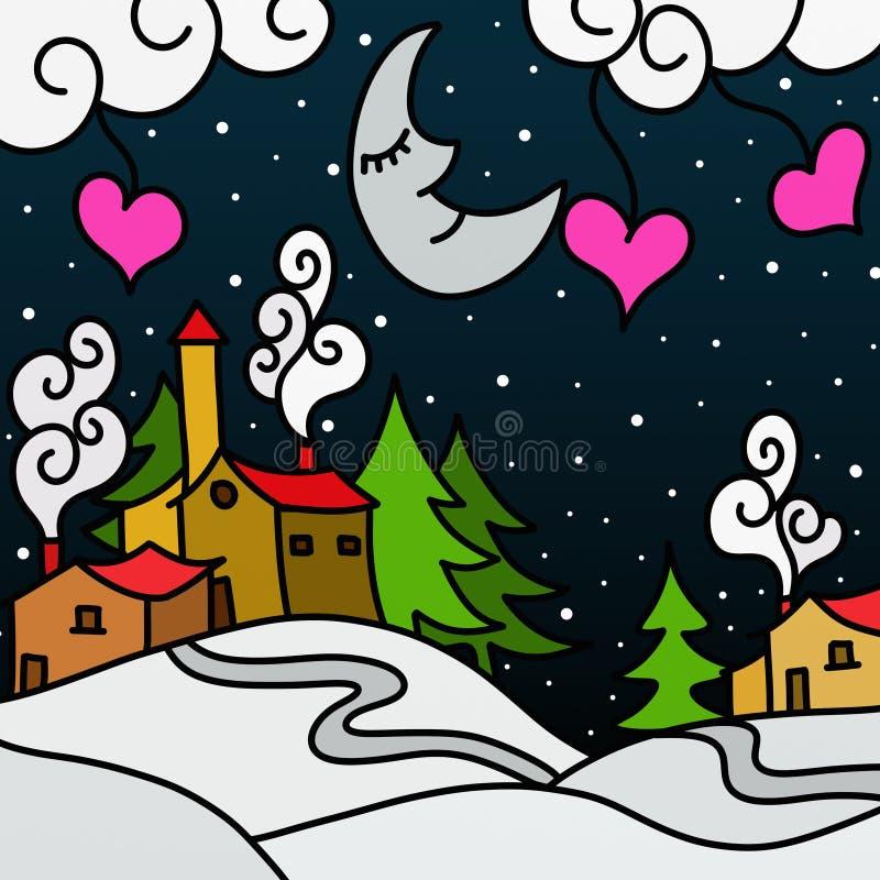 Extracto del paisaje del invierno ilustración del vector