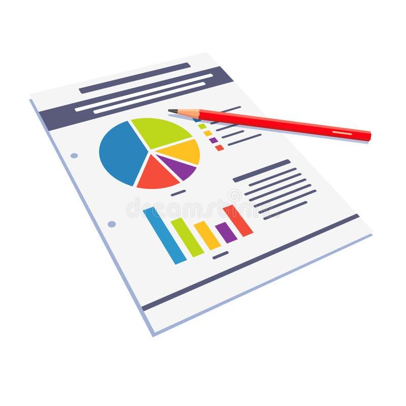 Extracto del papel de datos estadísticos con los gráficos ilustración del vector