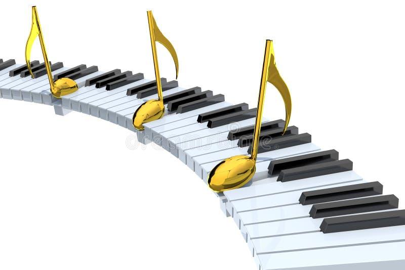Extracto del teclado de piano con las notas musicales de oro ilustración del vector
