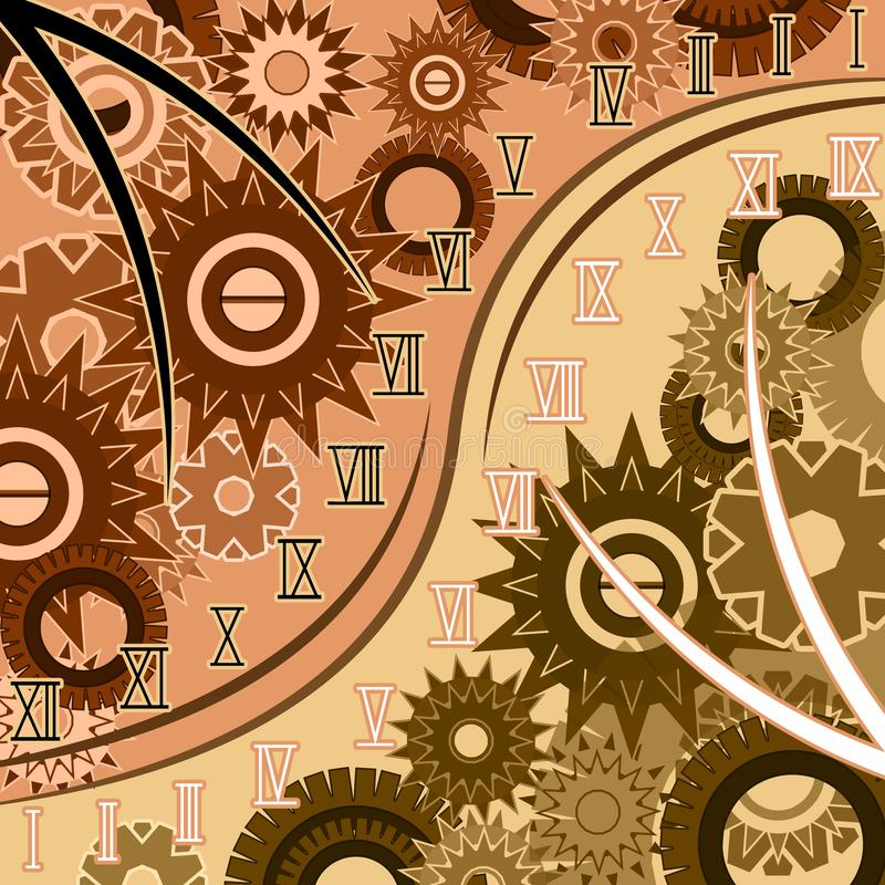 Extracto del tiempo con los números romanos ilustración del vector