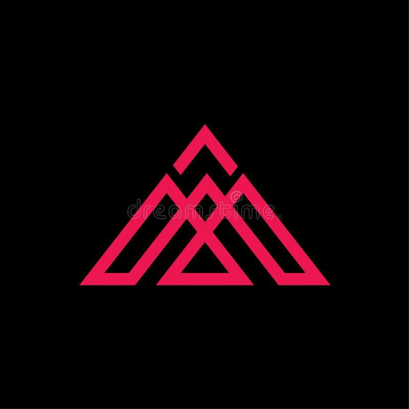 Extracto del vector del logotipo del triángulo de las iniciales M stock de ilustración