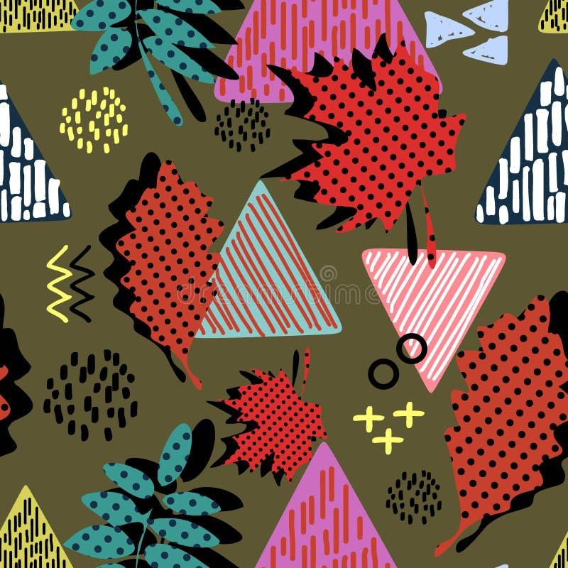 Extracto dibujado mano inconsútil del triángulo con el modelo infantil femenino del estilo del dibujo Fondo creativo de la materi libre illustration