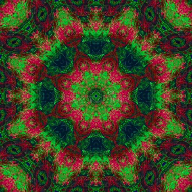 Extracto digital del ornamento de la decoración del caleidoscopio del fractal, hermoso diseño de la mandala imagen de archivo libre de regalías